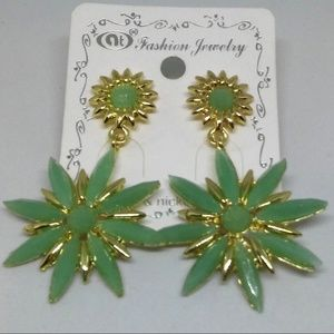 Green Snowflakes Stud Earrings Fashion Jewelry